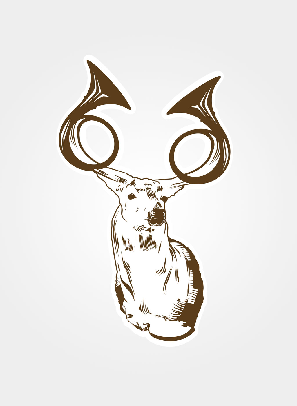 French Horned Deer Illustration