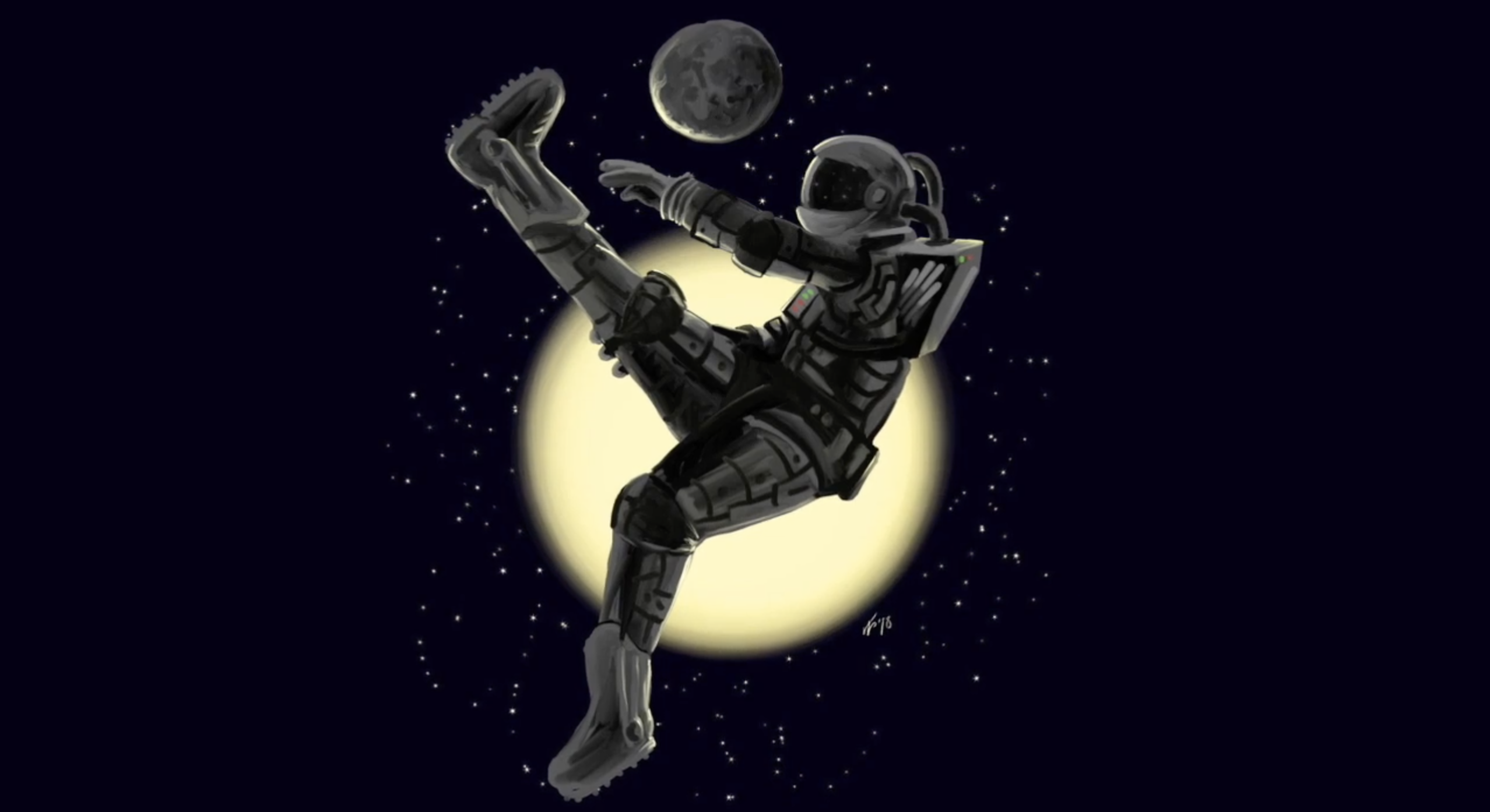 Outer Space Soccer Player Painting