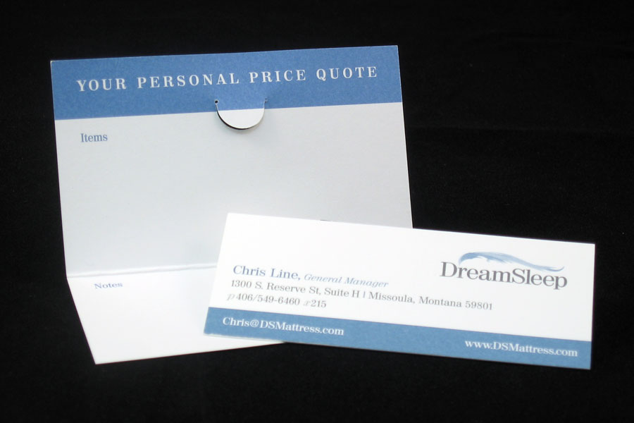 DreamSleep Business Quote Card Design