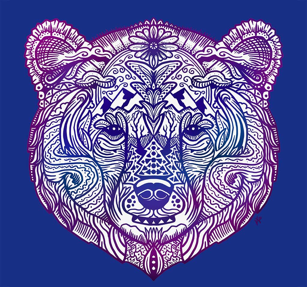 Grizzly Bear Face Artwork